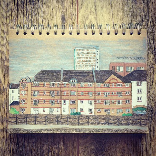 From my window  #urbansketch #igerslondon #se16 #kraftpaper #architecture_drawing #jothemonster  #colorpencil #colourpencil #illustratorsofinstagram #brickfacade