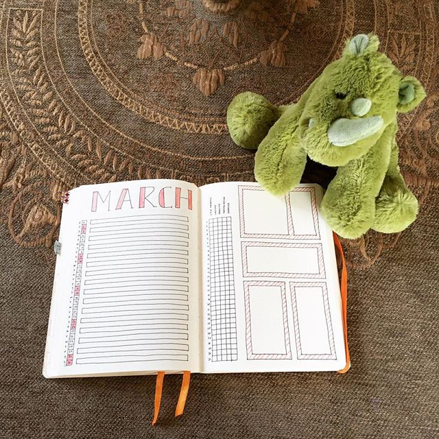 Getting ready for March! Thank you Jimmy for letting me borrow one of your toys for the picture #bujo #bujomonthly #monthlyspread #bulletjournal #bujojunkies #planner #bujolayout #cuddlytoy #weekendpleasures