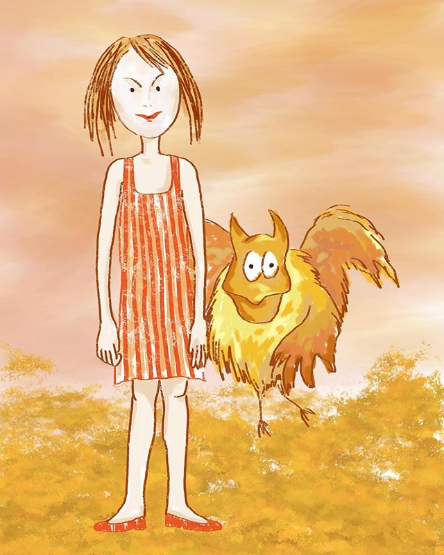 Hannah and The Boorgh #jothemonster #childrenillustrations #kidlit #instadrawings #artforkids #picturebookart #magicalcreatures #sunsetdrawing #illustratorsofinstagram #surfaceproart #sketchbook