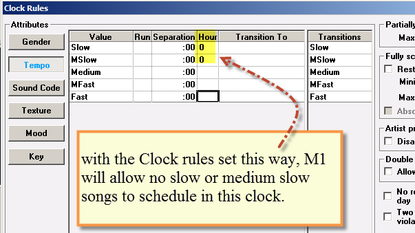 Setting a clock rule to omit any slow songs.