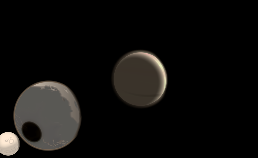 Impendia (center) and two of its three moons, Umud (center left), and Umdu (far left), where vast equatorial 'tide-mining' is carried out and aided by the huge gravitational pull between the two moons.