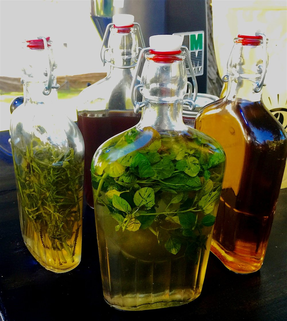 flavoring syrups crafted from scratch with ingredients from our garden  - We utilize only raw, fresh, hand picked, organic ingredients- often straight from our own garden, steeped our for up to 36 hours and sometimes well beyond. Celebrating nature's perfection with a clean, pure deep taste, symbiotic to your beverage.