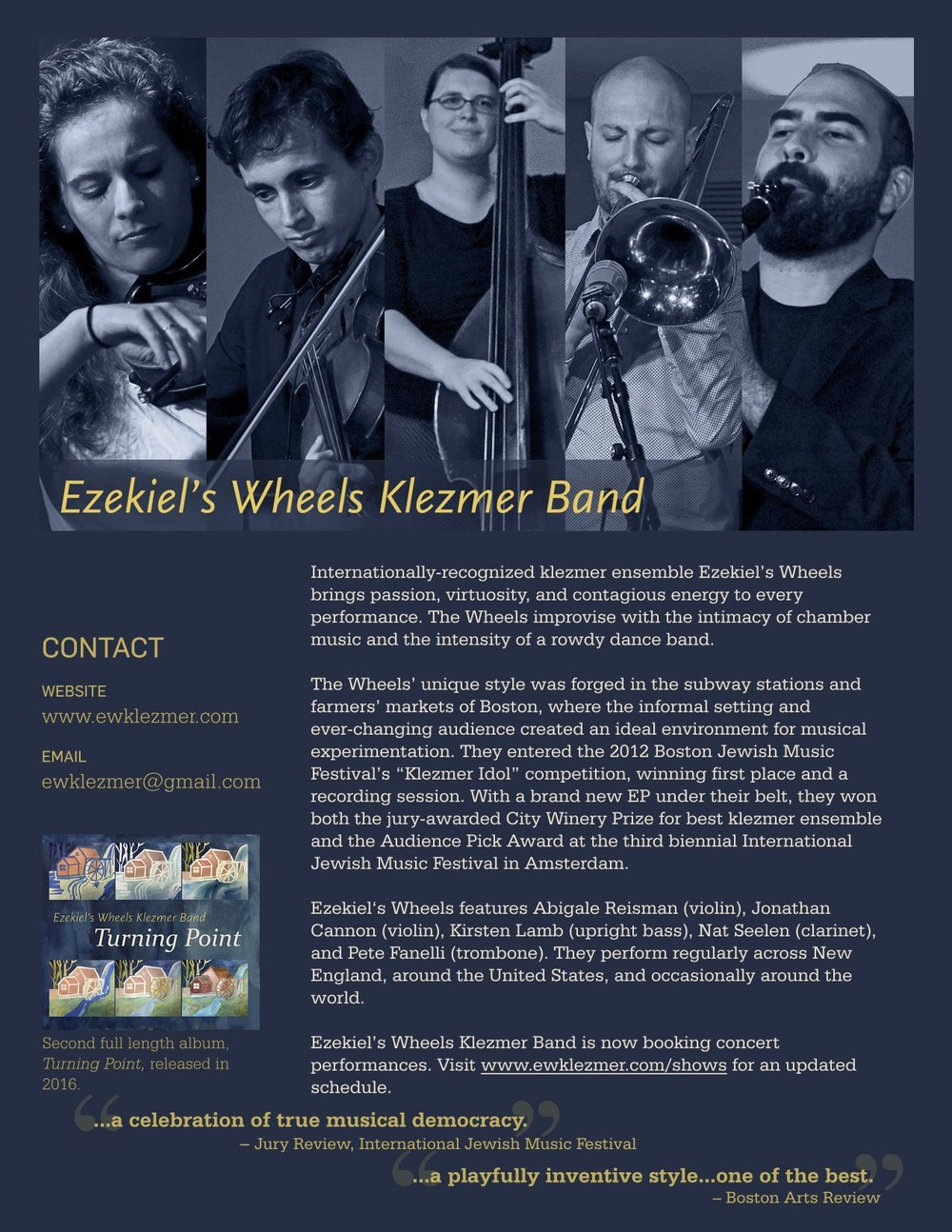 Ezekiel's Wheels Klezmer Band One Pager
