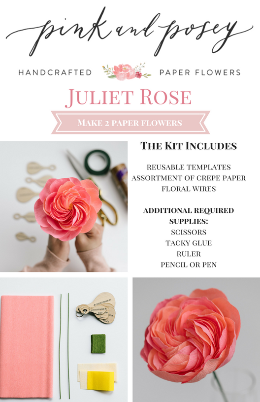 Paper Flower Kit Juliet Rose Pink And Posey