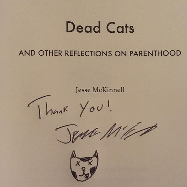 #Signed copies of #DeadCats now available at JesseMcKinnell.com . All of our ink is fair trade, gluten free, vegan and black (because blue ink just isn't #metal). #indiebooks #indienovel #indieauthor #kurtcobain #nirvana #darkhumor #darkcomedy