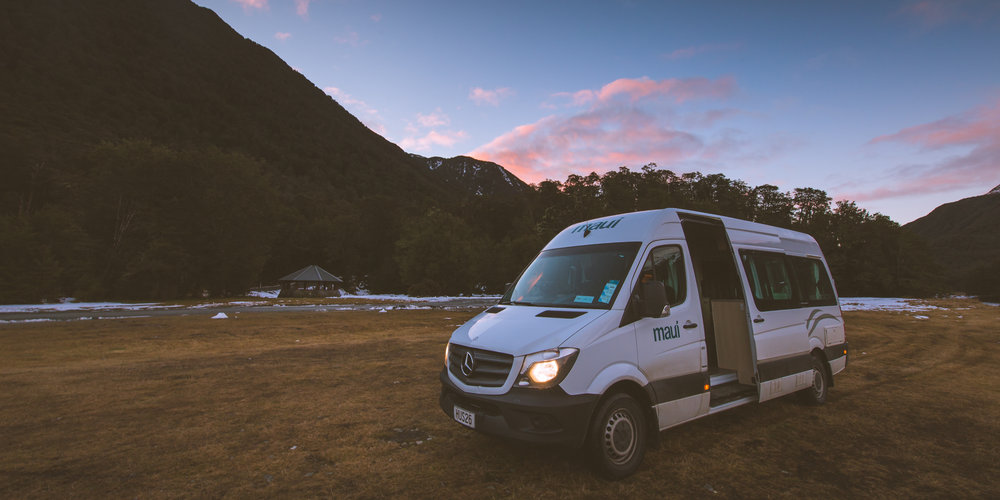 The Mercedes Sprinter Van at the top near Arthurs Pass. I got a free upgrade to the Maui brand.
