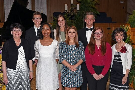 Left to Right – Front Row – Janet Sump,  Scholarship Chair ; Destiny Hannon, Cello,  Fletcher Bright String Scholarship ; Kelsey Brenner, Clarinet,  Jay Craven Clarinet Scholarship ; Hannah Eitzen, Tuba,  Drs. Hilda & Andres Alisago Jr. Scholarship and Dorothy Cobb Martin Scholarship ; Linda Thompson,  President   Left to Right – Second Row – Harper Beeland, Piano,  Admiral & Mrs. Vance Fry Merit Scholarship ; Emily Henderson, Piano,  CMC Scholarship ; Jake Wallin, Voice,  Opal Rhea Swaity Scholarship