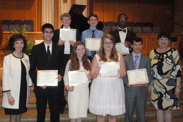 Left to Right - Front row – Linda Thompson, President; Jacob Martin, piano, and Autumn Hindman, piano, Dorothy Cobb Martin Scholarship; Angela Baucom, viola, CMC Scholarship; Patrick Rice, piano, Opal Swaity Scholarship; Janet Sump, Scholarship Chairman Left to Right - Back row – Seth Hall, French Horn, Drs. Hilda and Andres Alisago, Jr. Scholarship; Monte Coulter IV, clarinet, Jay Craven Clarinet Scholarship and Admiral Vance and Mrs. Charlynne Fry Scholarship; Eric Cullins, violin, Fletcher Bright Strings Scholarship