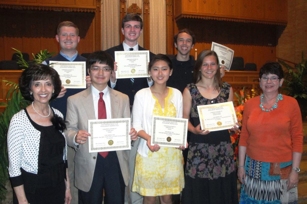 Front Row - Left to Right - Linda Thompson,  CMC President ; Austin Ngo (piano),  Admiral Vance & Charlynne Fry Merit Scholarship ; Christine Lau (violin),  Fletcher Bright String Scholarship ; Janelle Wigal (French horn),  Drs. Hilda & Andres Alisago Scholarship ; Janet Sump,  Scholarship Chair   Back Row - Left to Right - Justin Smith (oboe),  CMC Scholarship ; Drew Craig (tenor),  Opal Rhea Swaity Scholarship ; Joey Shultz (piano),  Dorothy Cobb Martin Scholarship