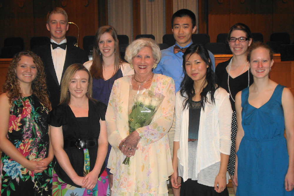 First Row - Left to Right - Kelsey Stansell, Pianist,  Dorothy Martin Award ; Holly Kinsey, Bass Clarinet,  Bruce Benton Award ; Mrs. Beth Long,  Scholarship Committee Chair ; Emily Oing, Violinist,  Drs. Andres and Hilda Alisago Award ; Monica Cook, Vocalist,  Opal Swaity Award.    Second Row - Left to Right - Joshua Coleman, Pianist,  Chattanooga Music Club Award ; Alyssa Baranski, Flute,  Admiral and Mrs. Vance (Charlynne) Fry Merit Award ; Brian Mu, Violinist,  Fletcher Bright Strings Award ; Savannah Miller, Vocalist, P atti Benton Stephenson Award