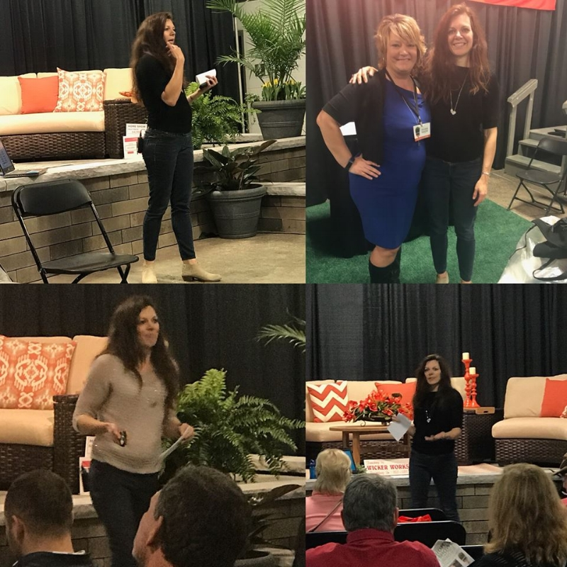 I spoke two times at the home show, to a wonderful audience. How fun! Pictured top Right, Jackie and I. Jackie was my right hand woman at the show.