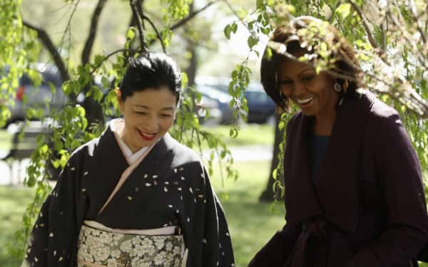 Under DC's cherry trees - Michelle Obama with the Yoriko Fujisake, the wife of the Japanese ambassador in 2012  / image:  Christian Science Monitor