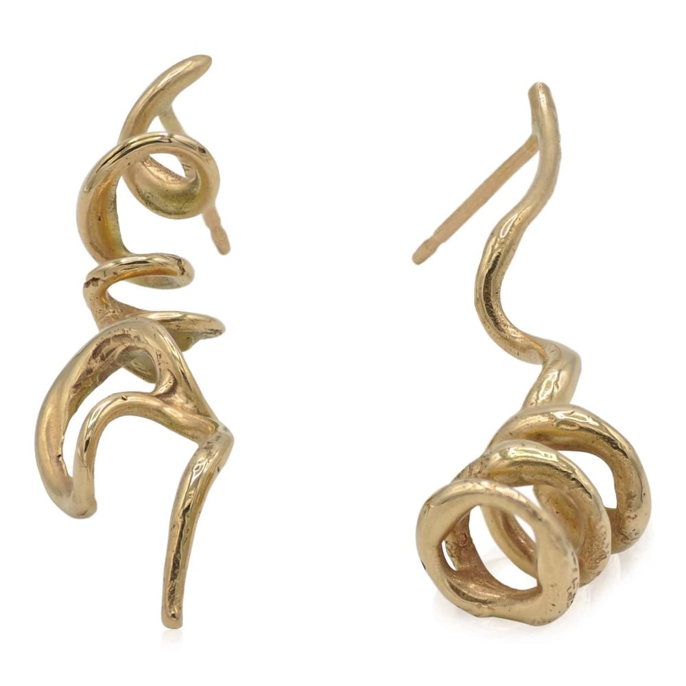 14k gold twisty vine post earrings