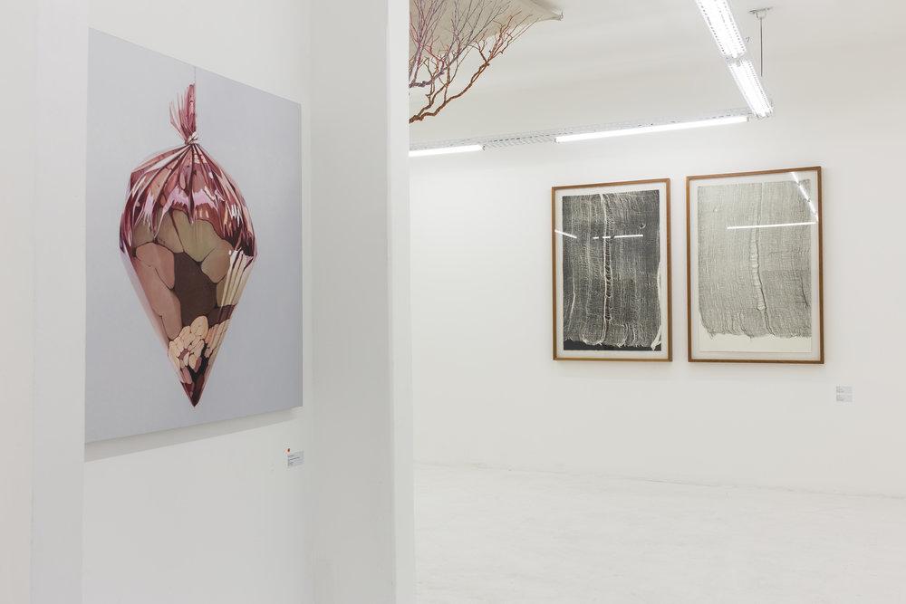 Obra da série Retratos Íntimos do artista Fábio Magalhães, pedaço da obra Ciclotrama 71 da artista Janaína Mello Landini e obras da série gaze da artista Maria Laet na exposição UM.ARTISTA - SOMA Galeria.jpg