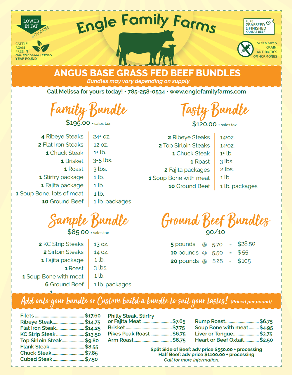 Certified Grass Fed Beef Bundles are available. - Bundles vary depending on what we have in stock.Build your own bundle to suit your tastes.Call for availability. Melissa Engle 785-258-0534