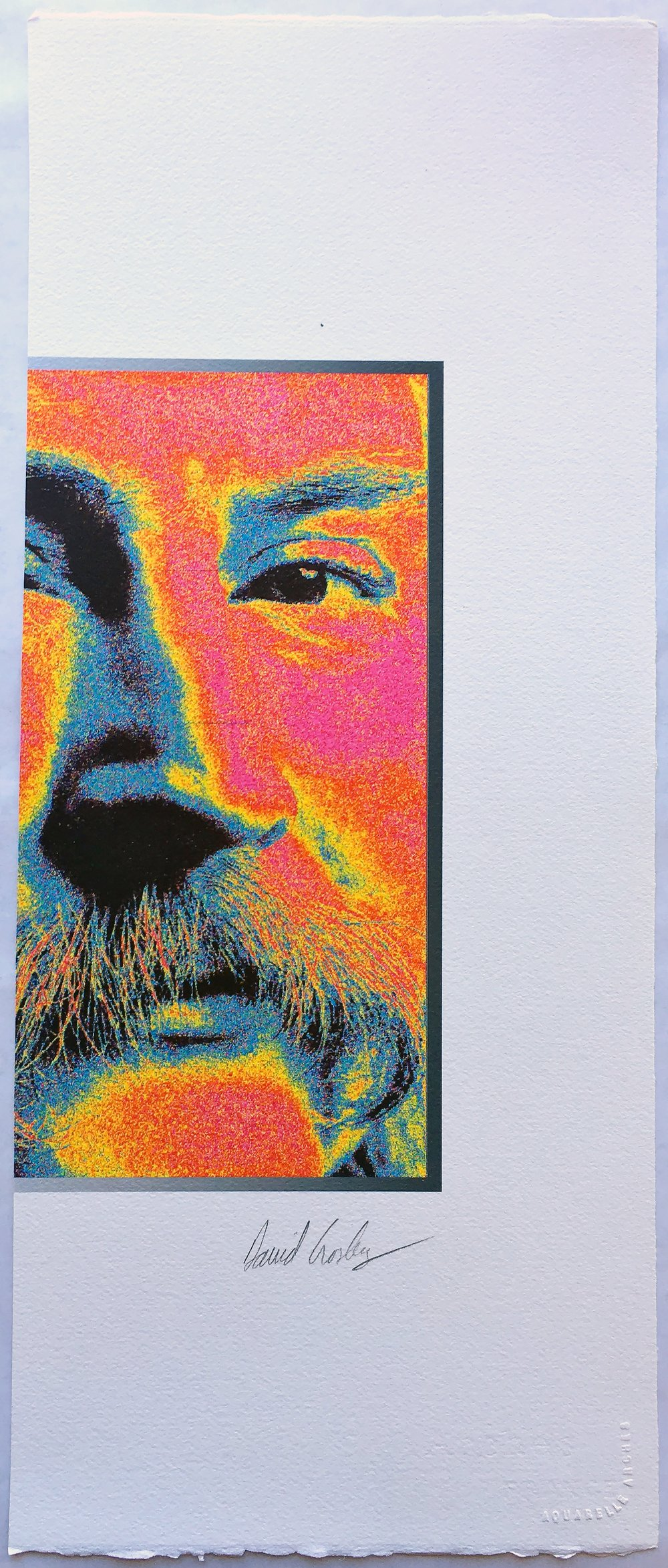 Possibly Graham Nash   David Crosby, ca. 1995  ITEM: DCP95  Original Jack Duggan Print/Sliced  Original Crosby Signature  9 x 221/4 inches  $200