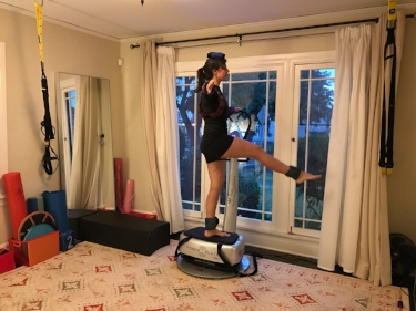 Ballet with weights on a vibration platform.