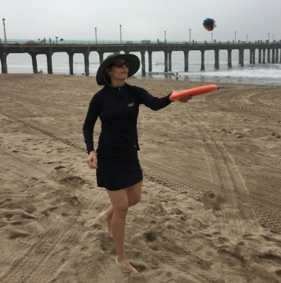 Foggy morning at Manhattan Beach. Skort from Costco.