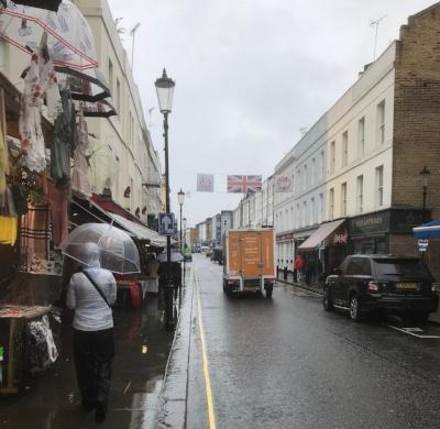 Rainy day in London on Portobello Road.