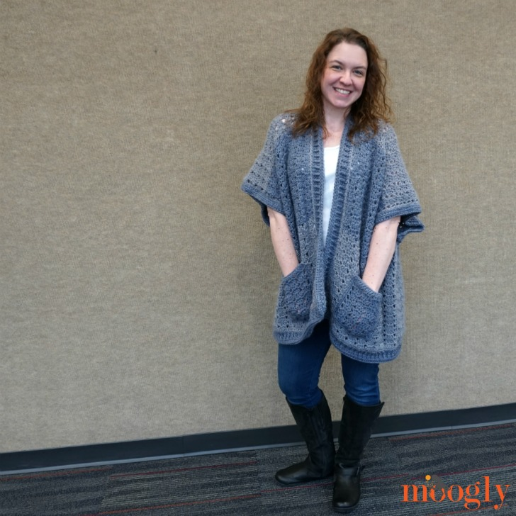 Tamara modeling her brand new Riverbend Cardigan design. Click on the photo to get the pattern.