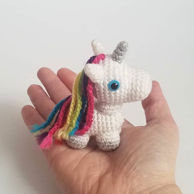 This time of year can be magical in more ways than one!  This tiny unicorn is the perfect addition to any stocking and is bound to enhance their holiday cheer!  Pattern designed by @ahooka_crochet . . . . #tinyunicorn #unicorn #giftideas #miniatureunicorn #madetoorder #giftforkids #amigurumi #gifts #justforyou #giftforher #christmasgift #christmasgifts #tiny #unicorn🦄 #rainbow #sparkle #handmadegift #glitter #unicornhair #crochetunicorns #unicorntoy #teenytiny #unicornpower . . . . . #stockingstuffers #christmas #giftideas #christmasgifts #holiday #holidaygifts #tripleacrochet