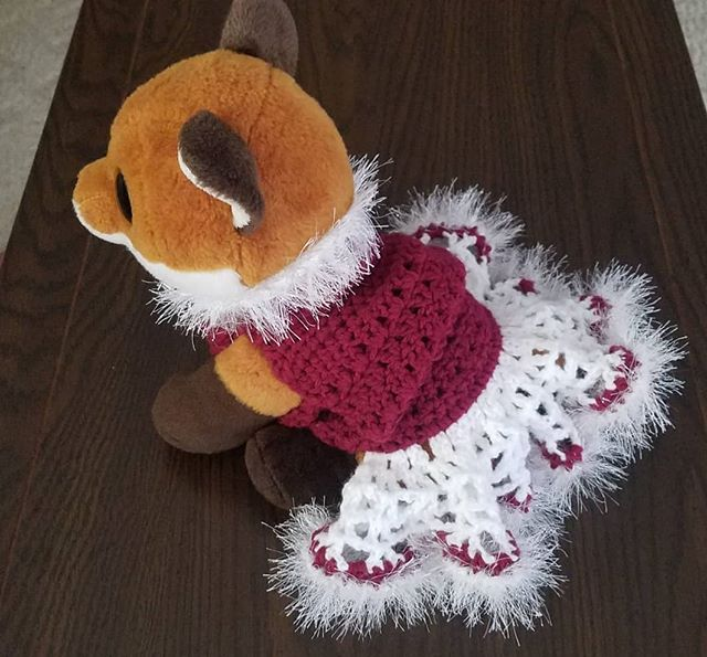 Isn't this dog sweater adorable!? It doesn't fit my stuffed fox as well as it's new owner but at least it helps give me a good idea what it will look like 😊 Hope the puppy stays warm!!! . . . #puppysweater #niceandwarm #crochetsweater #petowner #furbaby #furbabygift #crochetdogsweater #caninecare #petcare #warm #cozy #crochetfordogs #petgifts #furbaby #stuffedfox #customorder #winter #winterapparel #sparkles #funfur #puppylove #raspberry #crochet #tripleacrochet #dog #dogaccessories #pets #dogs #petlover #dogsareamansbestfriend