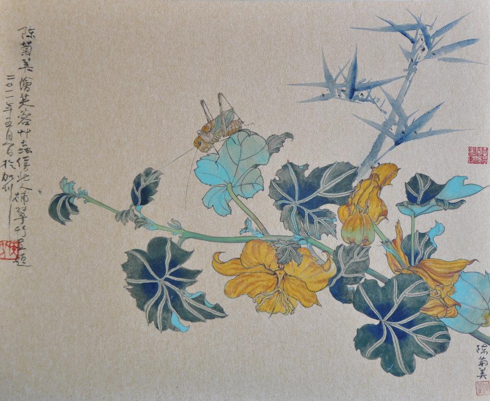 Hibiscus-芙蓉草蟲與翠竹.jpg