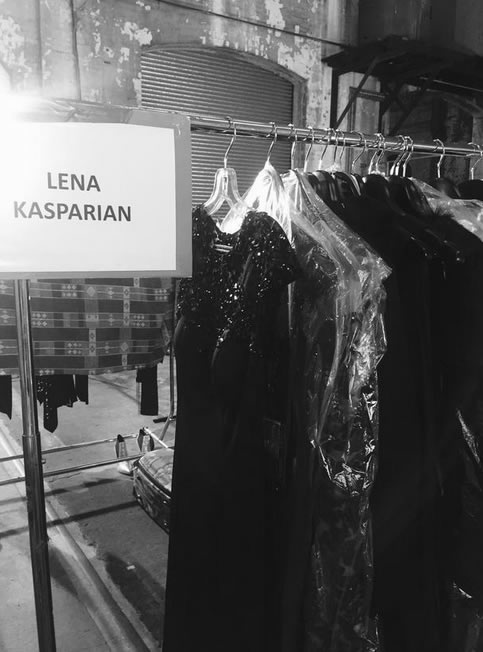 Lena Kasparian designs backstage.