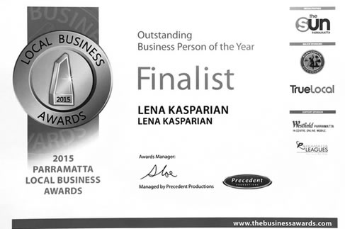 Lena Kasparian Outstanding Business Person of the Year Finalist Certificate.