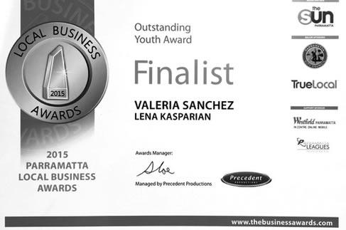 Valeria Sanchez Outstanding Youth Award Finalist Certificate.