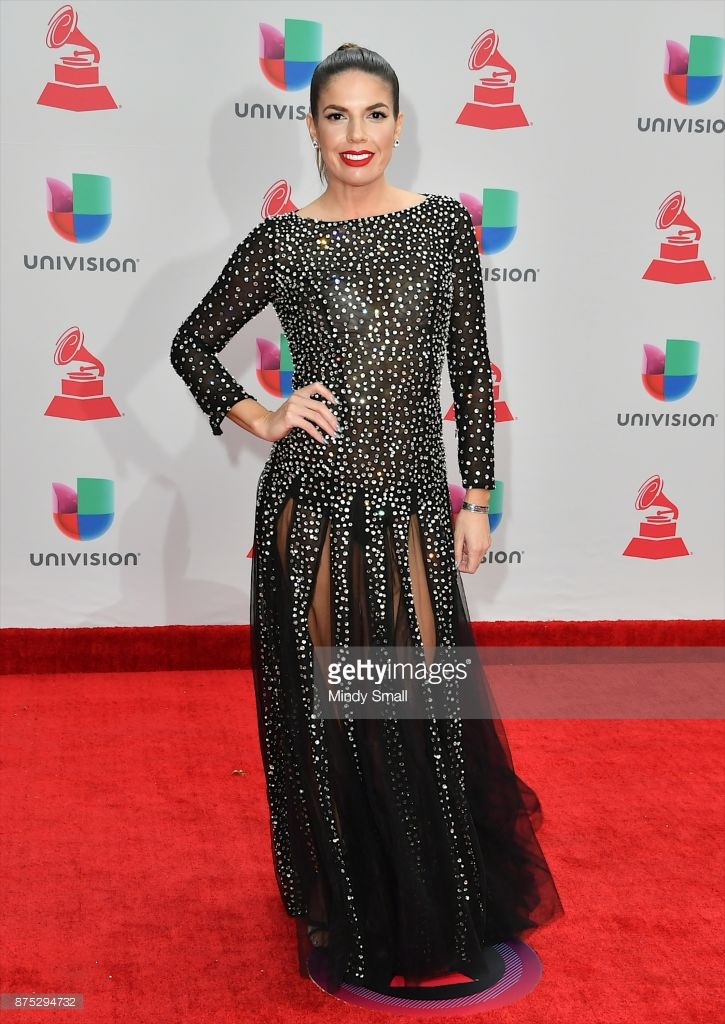 Fernanda Kelly attends the 2017 Latin Grammy Awards in Las Vegas. -