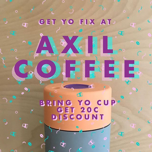 Roasters with the moasters @axilcoffeeroasters wanna show your reusable cup a good time at their 4 amazing locations. #byocoffeecup #BringYo #waronwasteau • • • #reuse #frankgreen #madeinmelbourne #cafes #coffee #sustainability #bringism #axilcoffee #discount #save