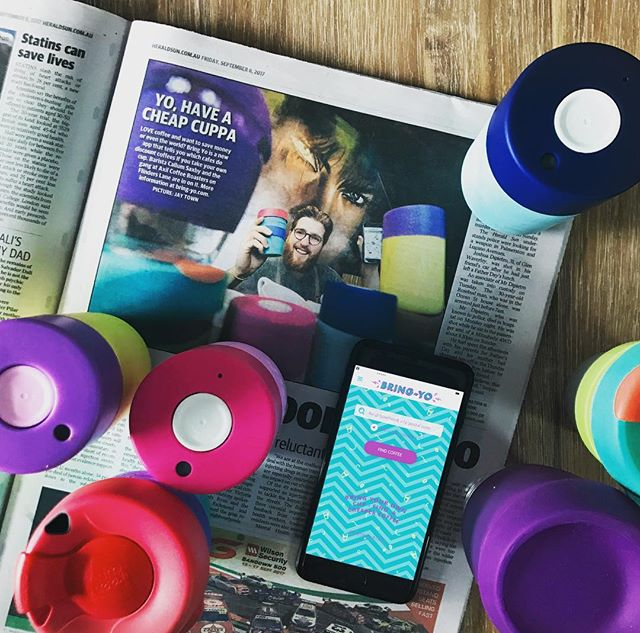 Some great press for Bring-Yo app in the Herald Sun today. Thanks for letting us hang out @axilcoffeeroasters! download the app ⚡️link in bio • • • #heraldsun #BringYo #cafe #frankgreen #waronwasteau #reuse #app #uidesign #colour #byocoffeecup #coffee #keepcup #discount