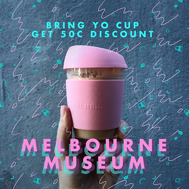 Get yo fix at @melbournemuseum Go for the bones, stay for the beans! #waronwasteAU #reuse #melbournemuseum #byocoffeecup #spiltmlk  Sweet cups by @spilt.mlk