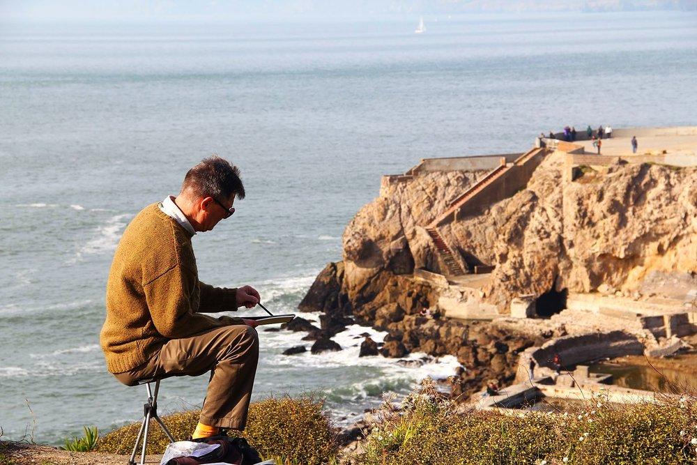 Painter at Sutro Baths, San Francisco
