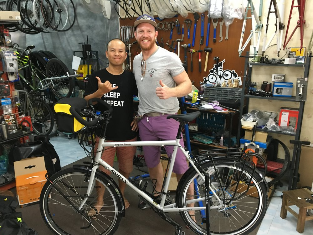 Picking up my bike from Nu @ Triple Cats Bicycle Shop in Chiang Mai. A great guy and incredibly helpful and knowledgeable.                                                                 Her name is Surly Temple