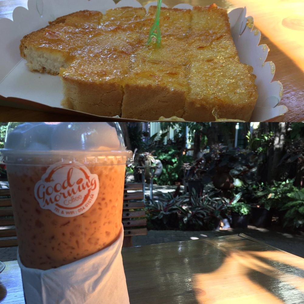Iced Thai tea with toast and marmalade  Thai tea recipe to follow.