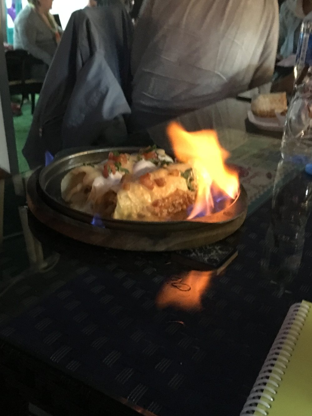 Flaming enchillades at Gringo's restaurant, Vientiane