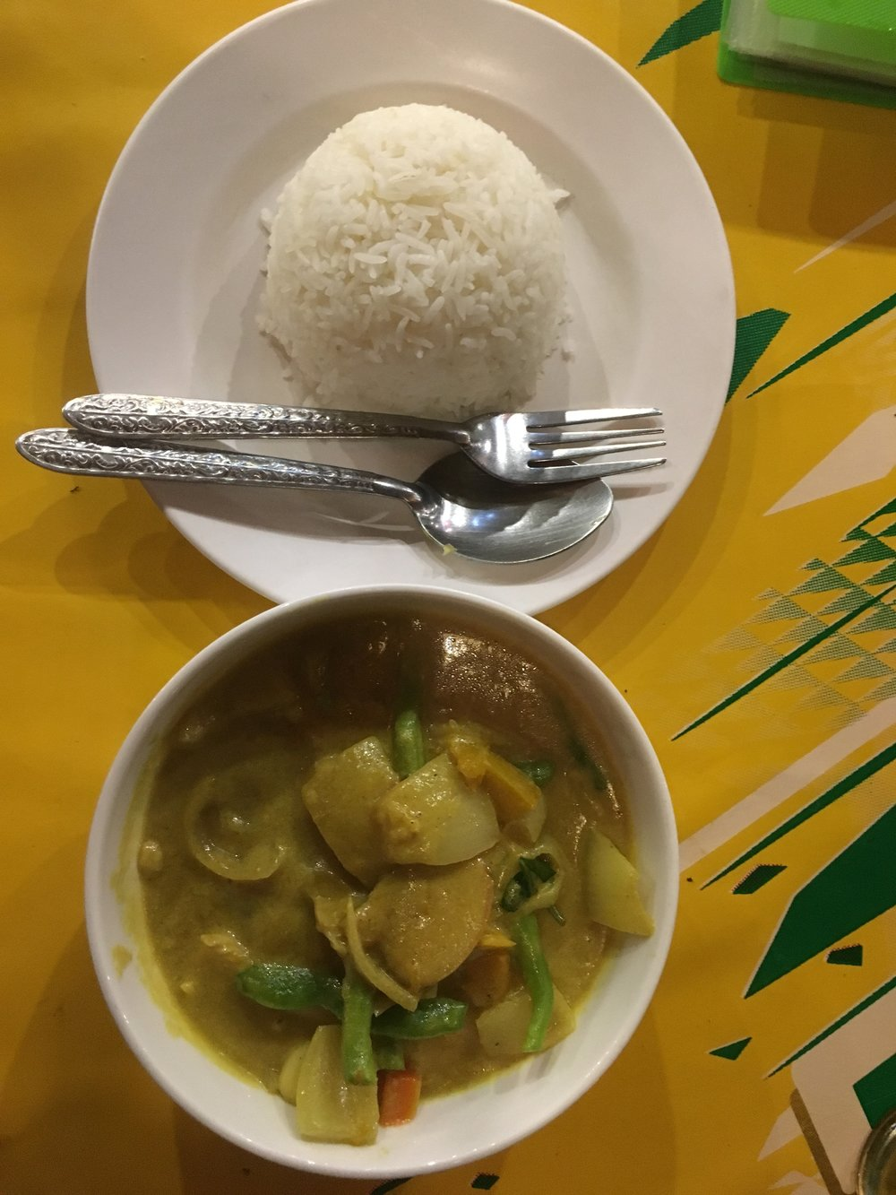Delicious Massaman curry and steamed rice.