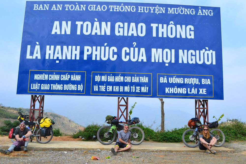The the amigos in no-mans-land between Laos and Vietnam.