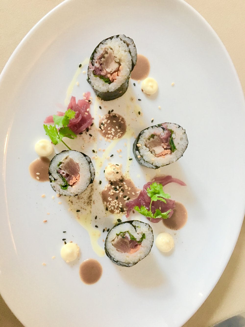 ~ red tuna maki & candied onions in ginger with wasabi dressing