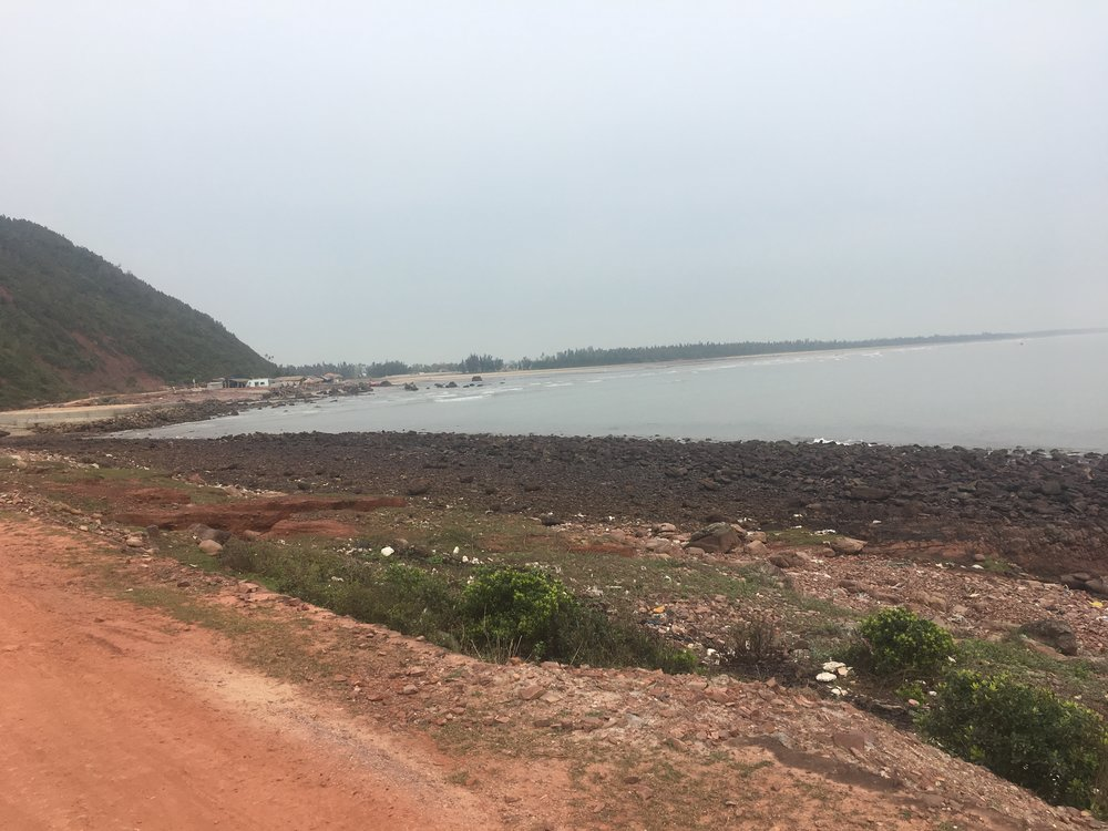 Red clay coastal roads on route to Vinh. Fun, bumpy and quiet.