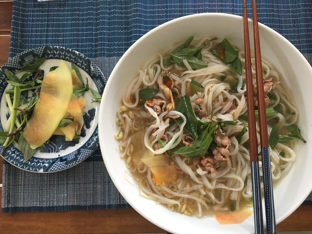 Phở for breakfast.