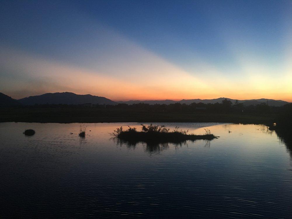 Sun set as I approach Qui Nhon