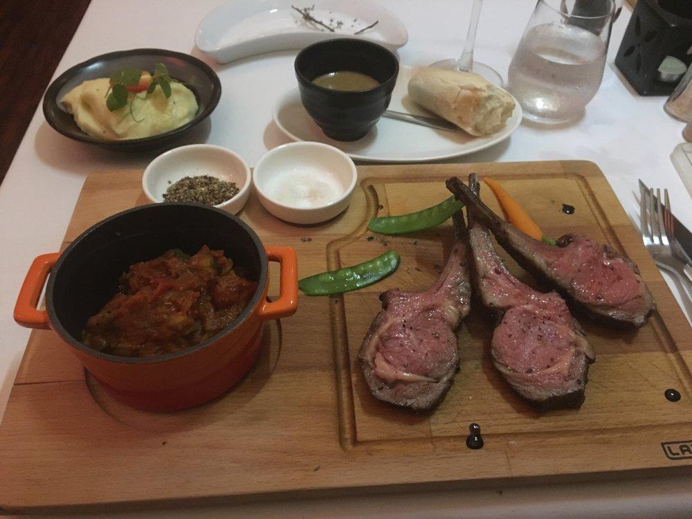 French Restaurant - Roast rack of lamb with ratatouillie