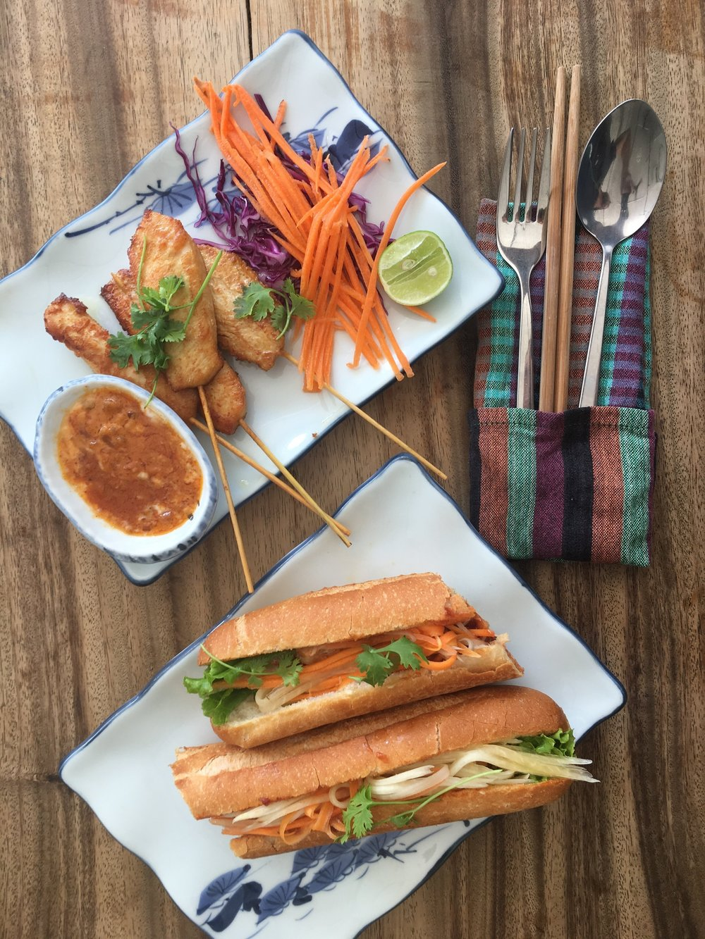 Chicken satay and Num Pang , which is very similar to the Banh Mi in Vietnam