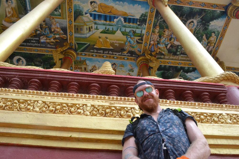 Ek Phnom Temple with Buddhist art on the ceilings