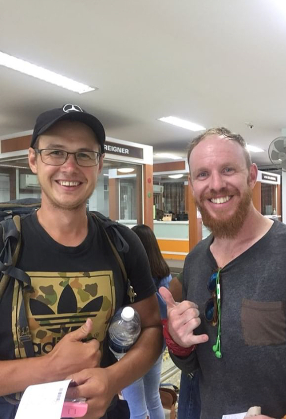 Andrey from Russia hitchhiking his way around Southeast Asia and back to Russia with his girlfriend.