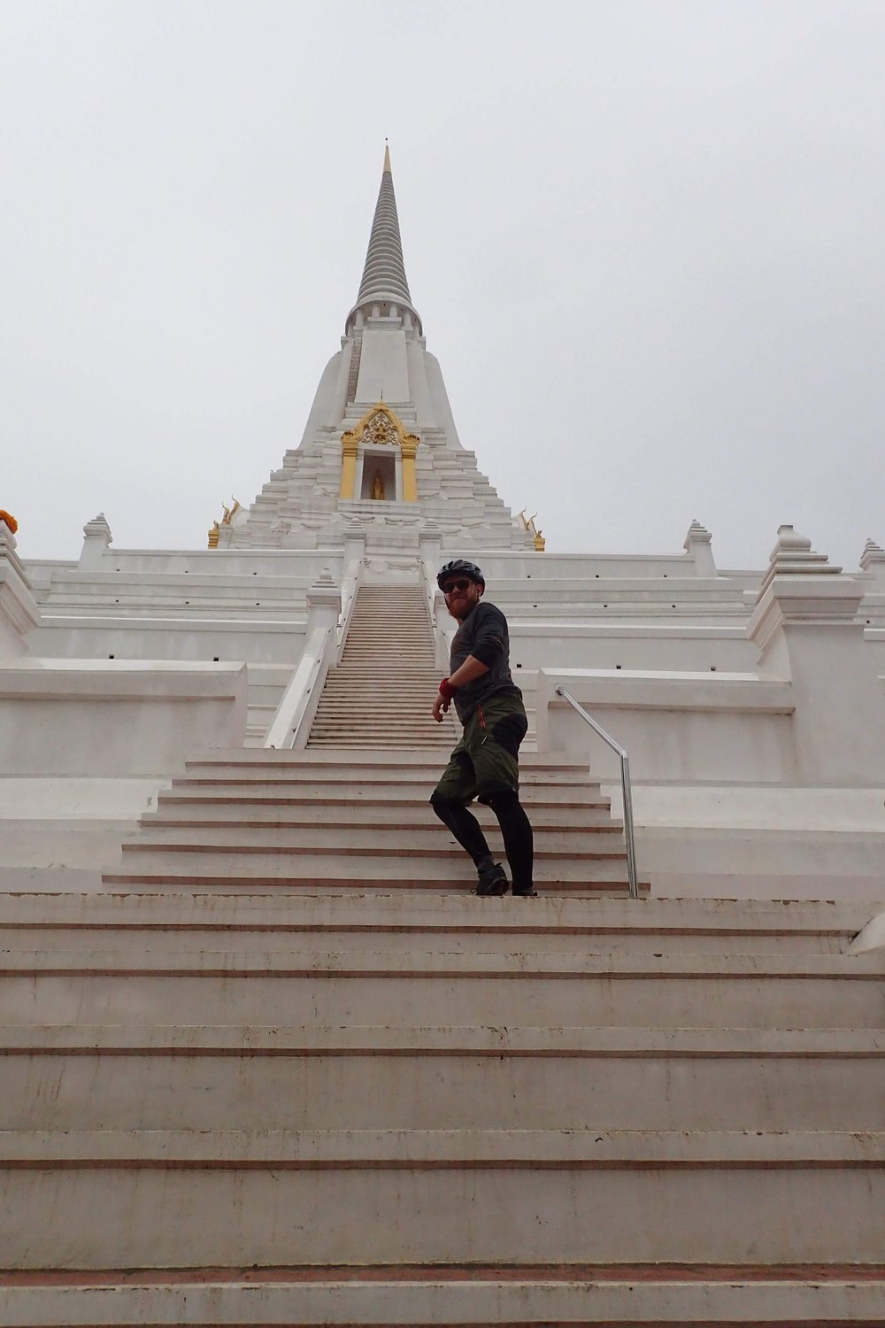 Steep steps up to the top of the Stupa.