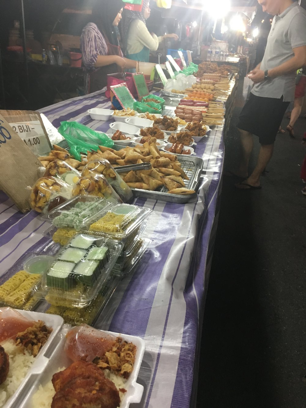 Selections of samosas spring rolls and other fried goods